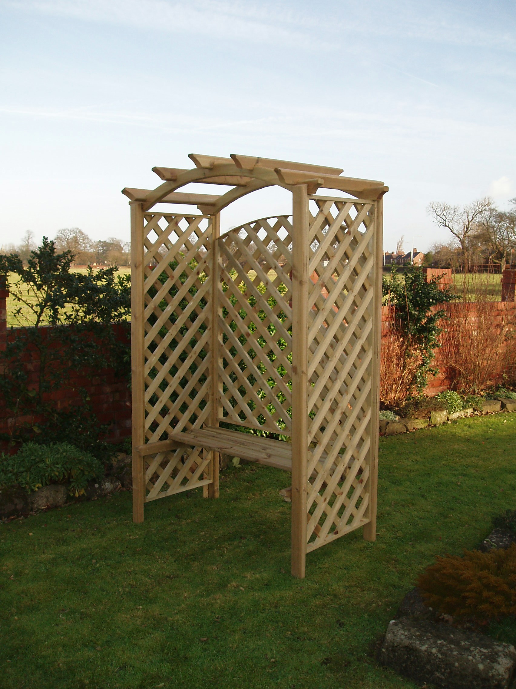 Rosewood seated arbour denbigh timber products for Rosewood garden designs